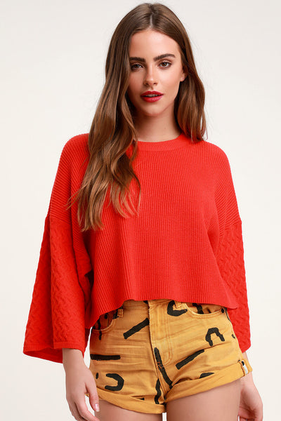 In the Mix Wide Sleeve Red Sweater - Lulus
