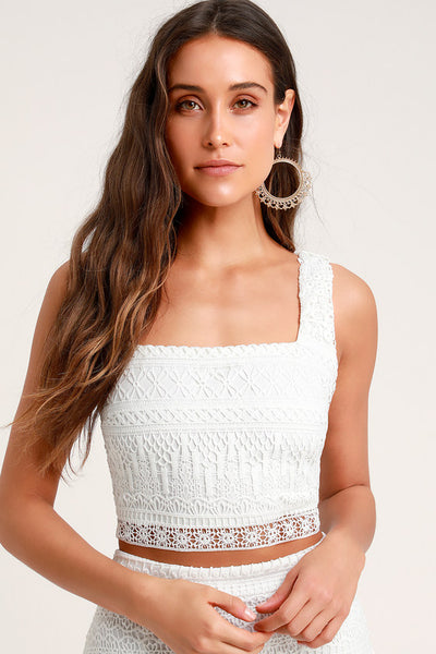 Romance Forever White Crochet Lace Crop Top - Lulus