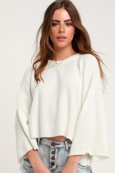 In the Mix Wide Sleeve Ivory Sweater - Lulus