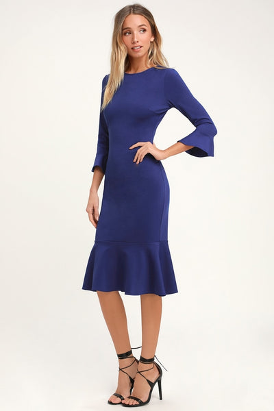 Creme de la Creme Royal Blue Trumpet Hem Bodycon Midi Dress - Lulus
