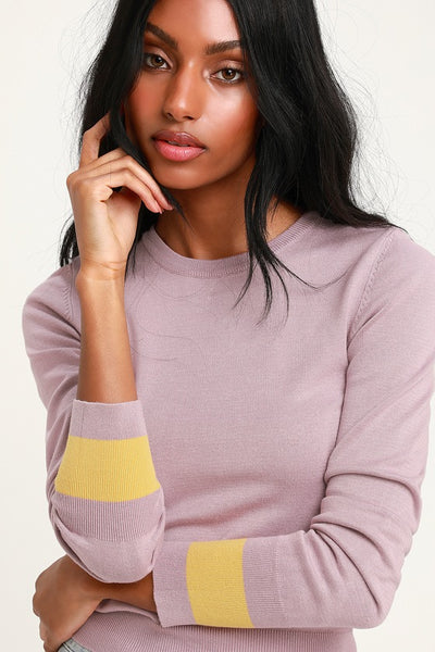 Daydreams Lavender and Yellow Sweater Top - Lulus