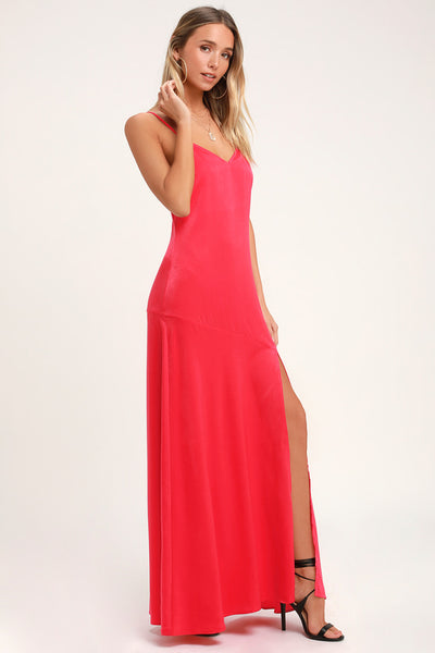 Hot Date Red Satin Maxi Dress - Lulus