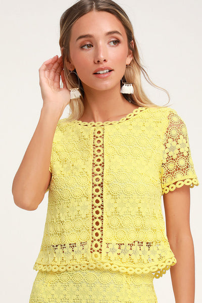 Sweet Style Yellow Crochet Lace Crop Top - Lulus