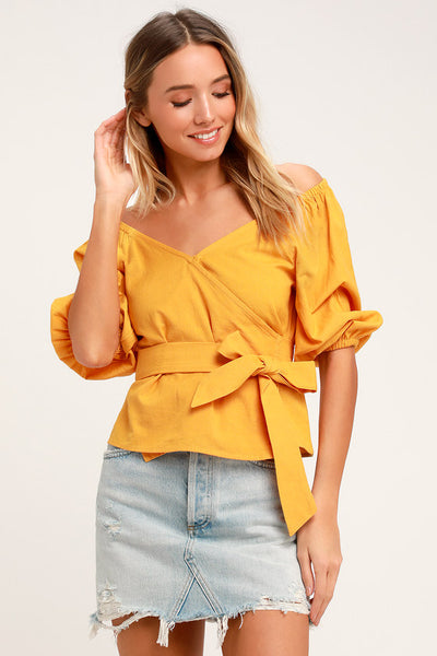 New Lust Mustard Yellow Wrap Top - Lulus