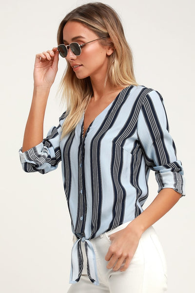 Cole Valley Blue Striped Tie-Front Top - Lulus