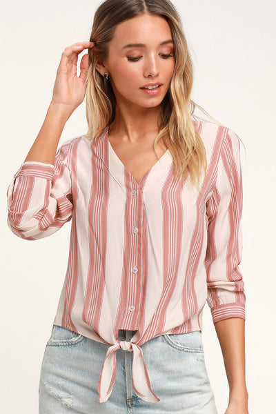 Cole Valley Blush Striped Tie-Front Top - Lulus
