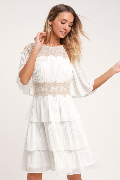 Westwind White Lace Pleated Dress - Lulus