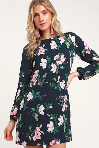 Rosalinda Navy Blue Floral Print Long Sleeve Shift Dress - Lulus