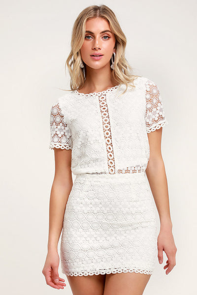 Cuter Than You White Crochet Lace Mini Skirt - Lulus