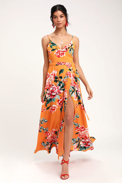Floral Flirtation Orange Floral Print Wrap Maxi Dress - Lulus