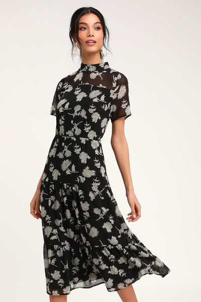 Floral Dressed Up Black Floral Print Midi Dress - Lulus