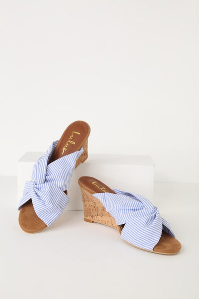 Santana Wedge Blue and White Striped Knotted Cork Sandal Heels - Lulus