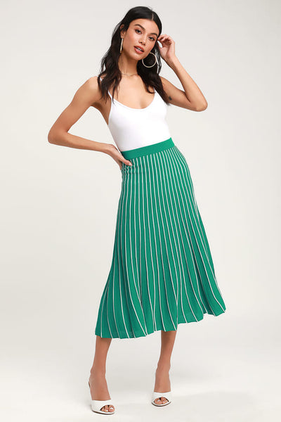 Yuri Green Striped Pleated Midi Skirt - Lulus