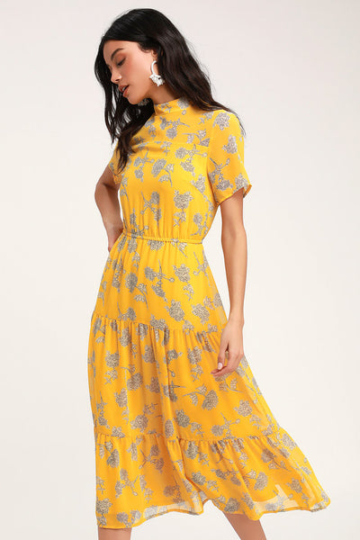 Floral Dressed Up Mustard Yellow Floral Print Midi Dress - Lulus