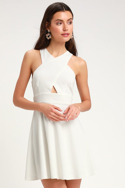 So Sophisticated White Cutout Skater Dress - Lulus
