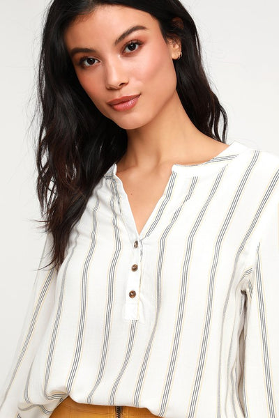 Marley Ivory Striped Long Sleeve Top - Lulus