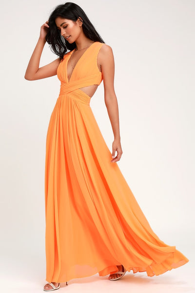 Vivid Imagination Bright Orange Cutout Maxi Dress - Lulus