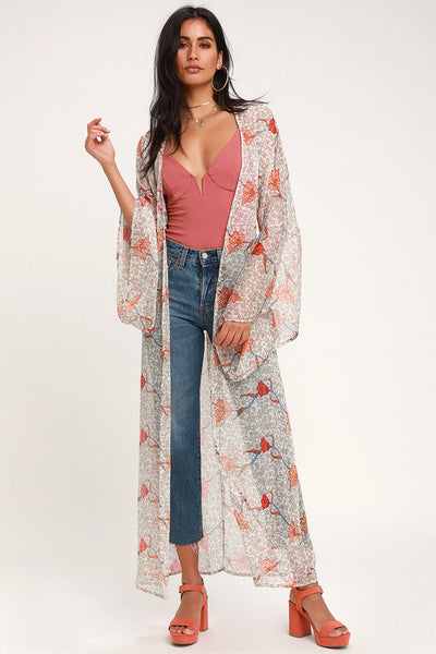 Dancing Daffodils Taupe Floral Print Chiffon Duster - Lulus
