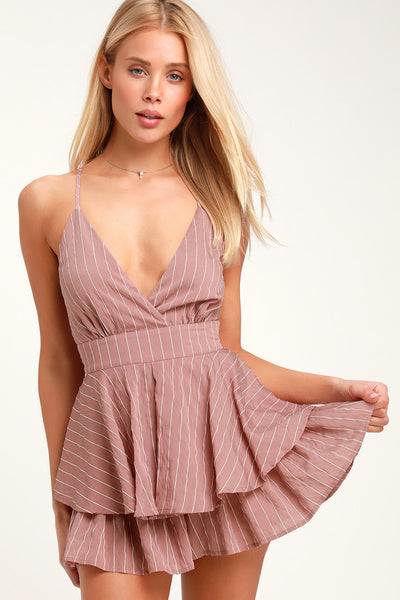 Ruffle and Flow Mauve Striped Backless Ruffle Romper - Lulus