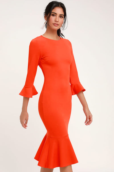 Creme de la Creme Bright Orange Trumpet Hem Bodycon Midi Dress - Lulus