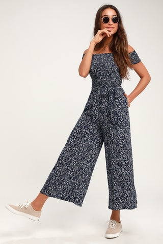 Behold Navy Blue Floral Print Off-the-Shoulder Jumpsuit - Lulus