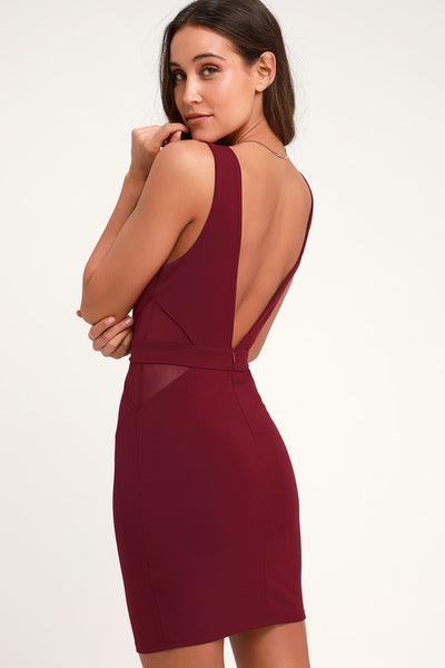 Back on My Beat Wine Red Mesh Bodycon Dress - Lulus