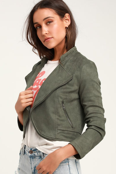 Dive Bomb Olive Green Suede Moto Jacket - Lulus