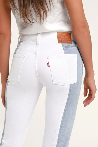 501 Taper Light Wash Color Block Cropped Jeans - Lulus