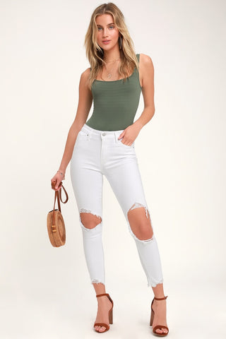 721 White High Rise Distressed Skinny Jeans - Lulus