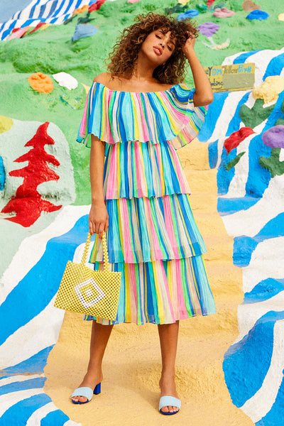 Gala Ready Multi Stripe Print Off-the-Shoulder Ruffle Midi Dress - Lulus