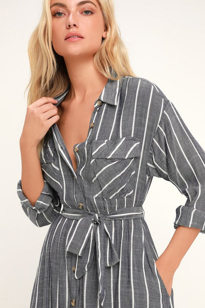 Slauson Dark Blue Striped Long Sleeve Shirt Dress - Lulus