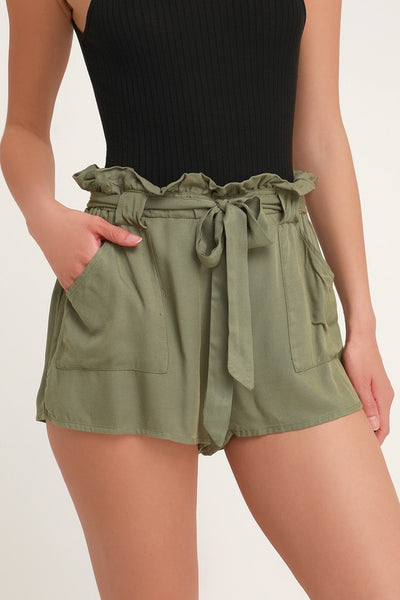 Belt It Out Olive Green Paper Bag Waist Shorts - Lulus