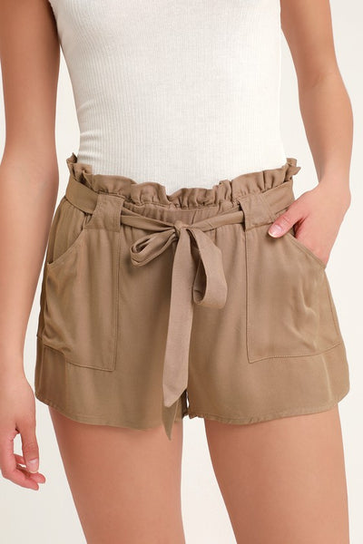 Belt It Out Brown Paper Bag Waist Shorts - Lulus