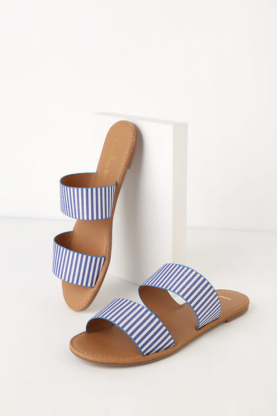 Time to Chill Blue Striped Slide Sandal Heels - Lulus