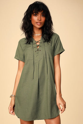 Aaryn Olive Green Collared Lace-Up Shift Dress - Lulus