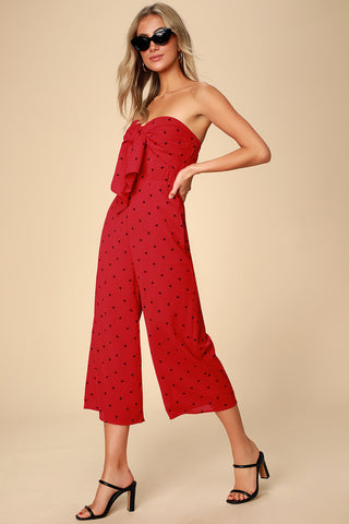 Nectar Red Print Strapless Tie-Front Jumpsuit - Lulus