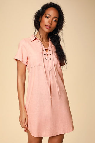 Aaryn Peach Collared Lace-Up Shift Dress - Lulus