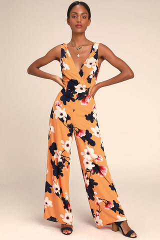 Heart Abloom Orange Floral Print Tie-Back Wide-Leg Jumpsuit - Lulus