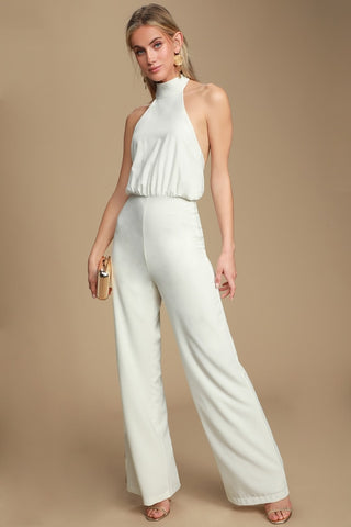 No Doubts White Halter Jumpsuit - Lulus