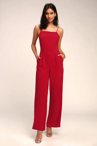 Emilie Red Sleeveless Wide-Leg Jumpsuit - Lulus