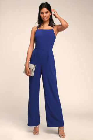 Emilie Royal Blue Sleeveless Wide-Leg Jumpsuit - Lulus
