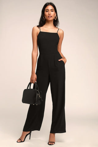 Emilie Black Sleeveless Wide-Leg Jumpsuit - Lulus