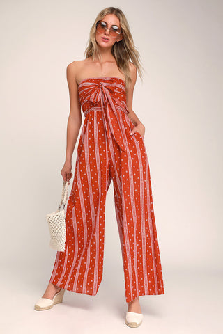 Raine Washed Red Print Strapless Jumpsuit - Lulus