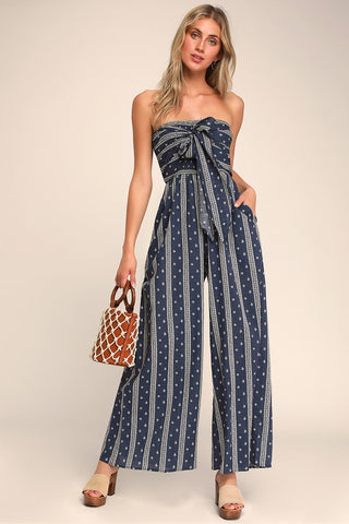 Raine Washed Navy Blue Print Strapless Jumpsuit - Lulus