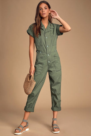 Grover Olive Green Short Sleeve Denim Jumpsuit - Lulus