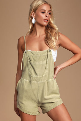 Wild Pursuit Light Sage Green Short Overalls - Lulus