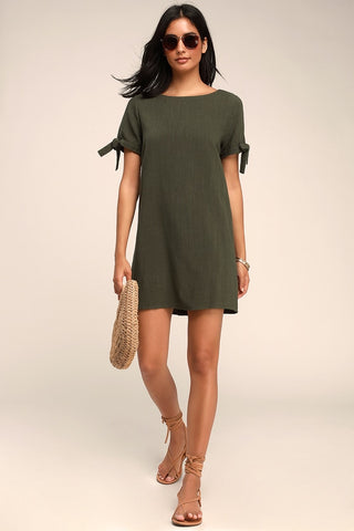 Maeve Olive Green Button Back Shift Dress - Lulus