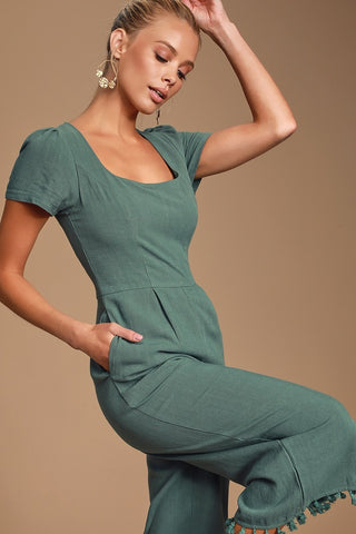 Leisure Olive Green Short Sleeve Tassled Culotte Jumpsuit - Lulus