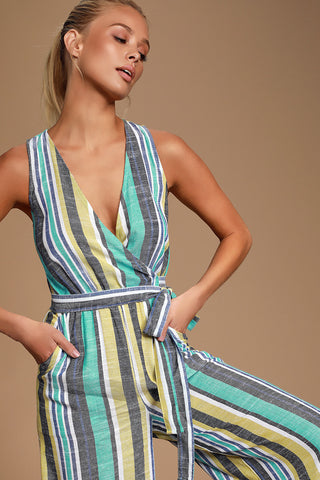 Evanston Teal Green Multi Striped Culotte Jumpsuit - Lulus
