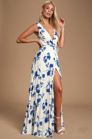 Lindsie Blue and White Floral Print Pleated Wrap Maxi Dress - Lulus